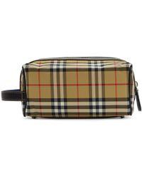 Burberry - Beige Vintage Check Washbag - Lyst