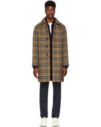Burberry - Yellow Alpaca And Wool Check Camden Coat - Lyst