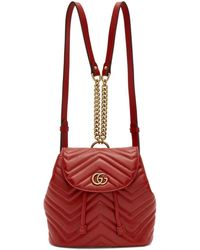 Gucci - Red Mini Gg Marmont 2.0 Backpack - Lyst