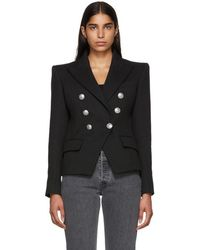 Balmain - Black Six-button Breasted Blazer - Lyst
