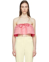 Carven - Pink Strapless Chintz Ottoman Cropped Top - Lyst