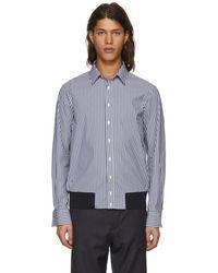 Neil Barrett - Blue And White Striped Blouson Shirt - Lyst