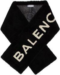Balenciaga - Black Shearling Logo Scarf - Lyst