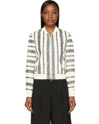 3.1 Phillip Lim - White Sketched Stripe Leather Bomber Jacket - Lyst