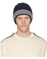 Thom Browne - Navy Cashmere Cable Knit Four Bar Beanie - Lyst