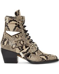 Chloé - Grey Snake Rylee Strap Boots - Lyst