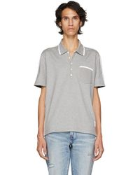 Thom Browne - Grey And Navy Bicolor Polo - Lyst