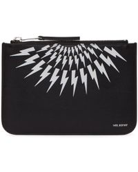 Neil Barrett - Black And White Medium Thunderbolt Pouch - Lyst
