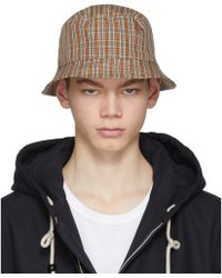 Acne Studios - Red And Orange Check Buk Bucket Hat - Lyst