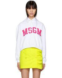 MSGM - White Cropped University Logo Hoodie - Lyst