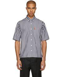 AMI - Black And White Striped Ami De Coeur Shirt - Lyst