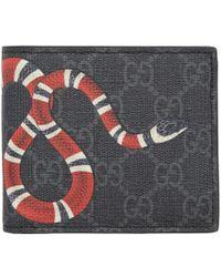 92cd513da Gucci Black Leather Snake Wallet in Black for Men - Save 16% - Lyst