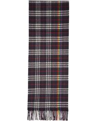 Burberry - Navy Cashmere Rainbow Check Scarf - Lyst