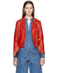 Acne Studios - Red Leather Mock Jacket - Lyst