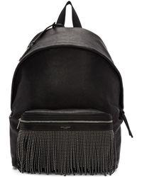 Saint Laurent - Black Fringes City Backpack - Lyst