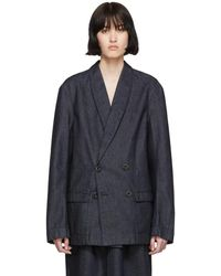 Lemaire - Ssense Exclusive Navy Denim Double Breasted Jacket - Lyst