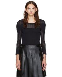 Issey Miyake - Black Stripe Mesh Crewneck Sweater - Lyst