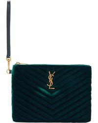 Saint Laurent - Green Velvet Monogramme Pouch - Lyst