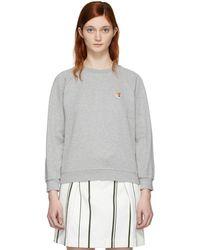 Maison Kitsuné - Grey Fox Head Sweatshirt - Lyst