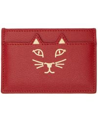 Charlotte Olympia - Ssense Exclusive Red Feline Card Holder - Lyst