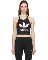 29b684c20ac adidas Originals Trefoil Crop Sleeveless Vest in Black - Lyst