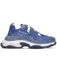 b39ff4c2d5 Balenciaga - Baskets bleues et grises Triple S - Lyst