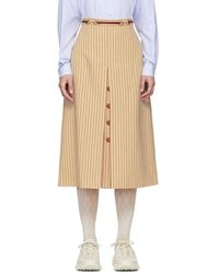 Gucci - Beige And Red Pinstripe Skirt - Lyst