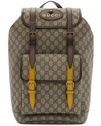 Lyst - Gucci Gg Supreme Appliquéd Backpack in Brown for Men f64c3174d2