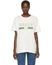 f17e6162b Gucci White Floral Patch Logo T-shirt in White - Lyst