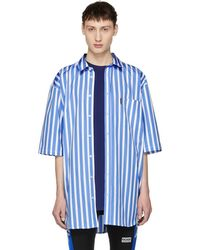 Martine Rose - Blue And White Short Sleeve Striped Oversized Shirt - Lyst
