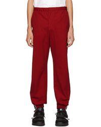 Prada - Red Poplin Divisa Trousers - Lyst