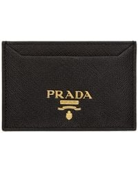 Prada - Black Saffiano Single Card Holder - Lyst