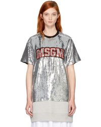 MSGM - Silver Sequinned Logo T-shirt - Lyst
