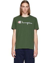 Champion - Green Script Logo T-shirt - Lyst
