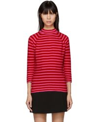 Marc Jacobs - Red And Pink Striped Mock Neck Sweater - Lyst