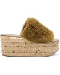 Chloé - Brown Shearling Camille Sandals - Lyst