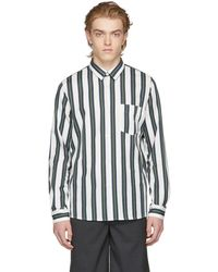 A.P.C. - Green And Off-white Striped Alexis Shirt - Lyst
