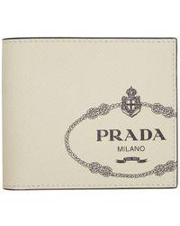 71e278ff4fa435 Prada Comic-print Leather Bi-fold Wallet in Blue for Men - Lyst