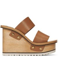 Chloé - Tan Wooden Wedge Sandals - Lyst