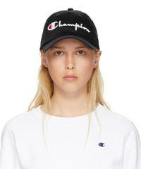Champion - Black Large Logo Baseball Cap - Lyst