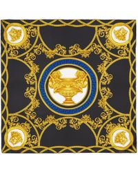 Versace - Black Silk Medusa Scarf - Lyst