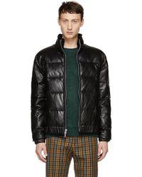 John Elliott - Black Leather Down Bomber Jacket - Lyst