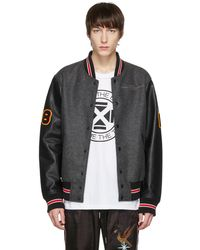 DIESEL | Grey And Black L-harry Varsity Jacket | Lyst