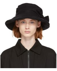 Y's Yohji Yamamoto - Black Flannel Cloche Hat - Lyst