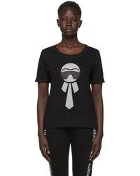 Fendi - Black Metallic Karlito T-shirt - Lyst