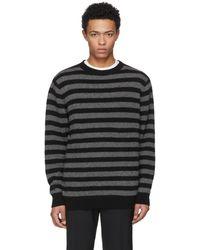 The Elder Statesman | Grey And Black Inch Stripe Sweater | Lyst