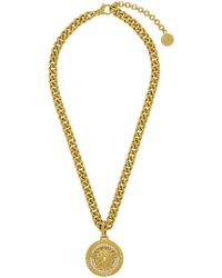 Versace - Gold Large Medusa Crystal Chain Necklace - Lyst