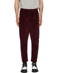 D by D - Burgundy Dropped Inseam Trousers - Lyst