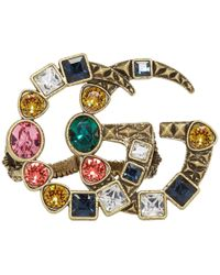Gucci - Gold And Multicolour Crystal GG Multi-finger Ring - Lyst