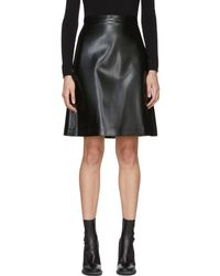 Jil Sander Navy - Black Faux-leather Miniskirt - Lyst